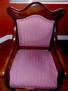 Antique American Empire Period Restored Mahogany Chair W/ Matching Foot Stool