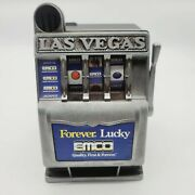 Vintage Emco Lucky Las Vegas Toy Slot Machine 8 Bank Coin Tested