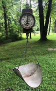 Antique Rh Forschner Hanging Grocery Store 30 Lb Scale Big Galvanized Scoop Pan