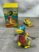 Vintage Quacking And Moving Tin Litho Duck And Litho Frog Clicker Toy Made In Japan