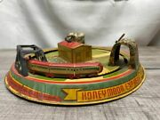 Vintage Mid 1900s Tin Litho Train Toy Marx Honeymoon Express With Label Working