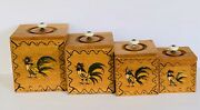 Vintage 60s Mcm Primitive Hand Painted Rooster Bird Wood Kitchen Canisters Set 4