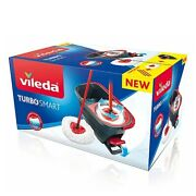 Vileda Turbo Smart Spin Mop And Bucket Easy Wring Complete Set Red/grey