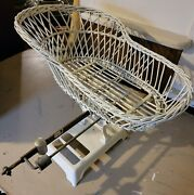 Vintage Antique Infant / Baby Scale With Wicker Basket