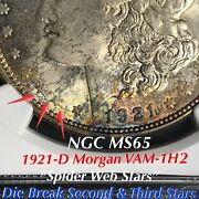1921 D Morgan Vam-1h2 Break Second And Third Stars Ngc Ms65 Finest Listed Toning