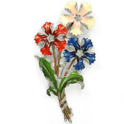 Trifari And039alfred Philippeand039 Red White Blue 3 Flower Giant Floral Spray Pin Clip