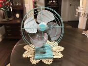 Rare Vintage Turquoise Dominion Oscillating Fan Working