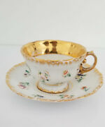 Beautiful Antique Meissen Raised Flowers Gilt Cup And Saucer C. 1850 1 Of 6