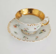 Beautiful Antique Meissen Raised Flowers Gilt Cup And Saucer C. 1850 4 Of 6