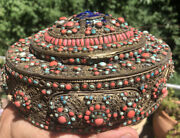 Antique Tibetan Bronze/ Brass Oval Box Inlaid With Natural Coral And Turquoise