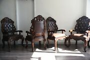 Acme Dining Table Set Antique Dining Chairs 4 Leather Tufted Chairs