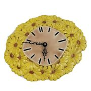 1970s Vintage Daisy Flowers Kitchen Wall Clock Retro Hand Yellow Painted Ceramic