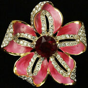 Corocraft Sterling Pave Pink Enamel And Ruby Opening Flower Pin