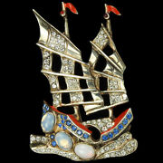 Harris Sterling Opals Ww2 Allies Red White Blue Patriotic Junk Sailing Ship Pin