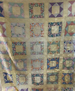 Antique Quilt Yellow Pastel Block Pattern Hand Pieced And Quilted 72 X 87