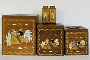 Vintage 70s Mcm Primitive Hand Painted Rooster Birds Wood Kitchen Canisters Set