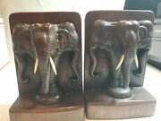 Two Carved Wood Elephants Vintage Large Bookends Sculptures Figurines White Tusk