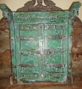 Antique Old Collectible Hand Carved Painted Rare Size Small Wooden Window Door