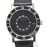 Bvlgari Gmt Bb33slgmt Ss Black Automatic Boys Watch Authentic