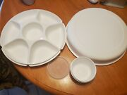 Vtg Tupperware Divided Vegetable Relish Chip And Dip Serving Tray W/dip Bowl And Lid
