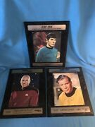 Star Trek Auto Limited Edition 15x12 Plaques 3 Spock Picard Kirk To Go Bold...