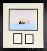 Peanuts Original Production Cel Of Schroeder And Snoopy With Original Sketch And Coa