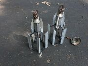 Pair Antique Art Deco Large Hanging Lantern Form Theater Lights Industrial