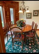 Ethan Allen Country French Pedestal Dining Table W/leaf And 6 Wheat Back Chairs