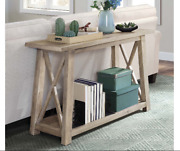 Natural Farmhouse Sofa Table Rustic Wooden Console Entryway Hall Accent Gray New