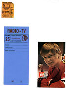 1- Post Card From Chicago Blacks Autgraphed Keith Magusson Stub And Media Pass