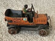 Amos And Andy Open Air Taxi Original C1930 Marx Antique Tin Wind Up Car For Parts