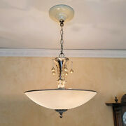 895b Vintage Antique 40and039s Ceiling Lamp Fixture Glass Shade Chandelier 3 Lights
