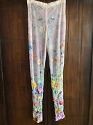 Vtg Atelier Versace Floral Embroidered And Hand Painted Silk Tulle Pants P Small