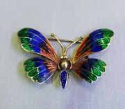 Vintage 14k Yellow Gold Butterfly Charm Pendant With Multi-color Enamel Jewelry