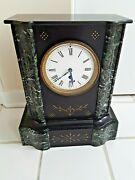 1860and039s Victorian French Black Slate Mantle Clock Eastlake Engraved 15 Tall