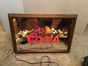 Vintage Coors Beer Lighted Sign Rocky Mountains Scene Colorado