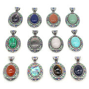 Cloisonne W/ Stone Silver Multi-colored Enameling Hinged Bale Pendant Jewelry