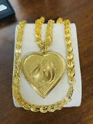 Real 21k 875 Fine Saudi Gold 22andrdquo Long Mens Womenand039s Heart Set Necklace 6mm 19.83g