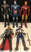 Lot Of 5 Marvel Action Figures Talking Light Up Thor Captain America W Iron Man