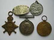 Wwi Great War Trio Id Bracelet And Peace Medal 6208 Gnr H Perry Rfa