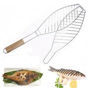 Fish Grill Basket With Wood Handle Barbecue Meshes Camping Grill Rack Bbq Clip