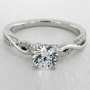 Round Cut 0.80 Ct Real Diamond Engagement Ring 14k White Gold Size 6 7 8