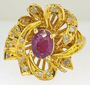 Vintage Palladium Metal W/ Natural Ruby And Diamond Fancy Bow Or Ribbon Style Ring