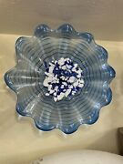 Spectacular Handblown Glass Wall Art - Blue And White With Wall Mount