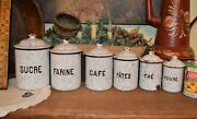Atq French 6 Piece Blue Vein Enamelware Graniteware Kitchen Canister Set W/lids