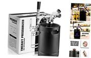 64oz Growler Tap System, Pressurized Stainless Steel Mini Keg With Cooler