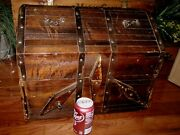 Vintage Huge Wood Pirate Treasure Chest Large Box/small Trunk. 19 X 17 X 14