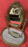 Stunning Rare/vintage Copper Vanity Mirror W/attached Tray