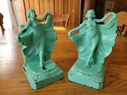 Antique Roaring 20's Frankart Flapper Girl Turquoise Green Cast Metal Bookends