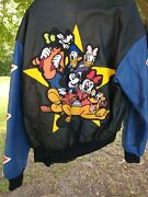 Adult Small Mickey Mouse And The Gang Leather Jacket Goofy Donald Daisy Pluto